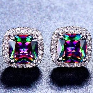 NEW RAINBOW MYSTIC TOPAZ DIAMOND STUD EARRINGS